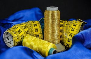 sewing measuring tape with threads